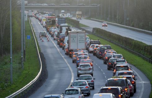 Traffic on the M3 backed up due to secondary picketing during an unoffiicial strike by transport workers as part of the Bus Eireann Strike. Photograph: Alan Betson / The Irish Times
