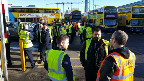 The scene at Ringsend garage this morning (Friday 31st Mar) as Dublin Bus workers stopped work in support of their Bus Eireann colleagues.  Photograph: Frank Miller / The Irish Times
