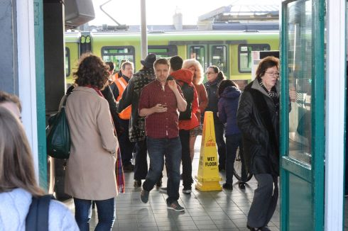 Commuters in Bray this morning where there was no Dart Service to the city. Photograph: Cyril Byrne / The Irish Times