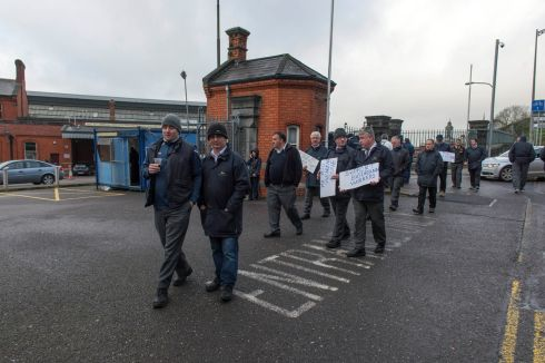 Workers on picket at Kent Train Station Cork .  Photograph: Michael Mac Sweeney/Provision