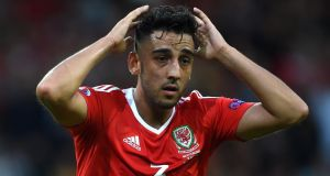 Neil Taylor is set to feature for Aston Villa against Norwich City on Saturday. Photograph:  Joe Giddens/PA