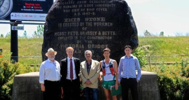 Victor Boyle, Marc Miller MP, Fergus Keyes, Michael Collins and Ronan Corbett at Montreal's Famine memorial in 2016