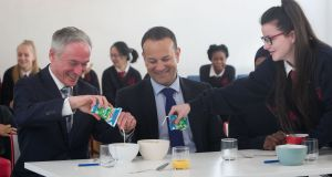 Minister for Education Richard Bruton and Minister for Social Protection Leo Varadkar with students from St Joseph's secondary school in Stanhope Street in Dublin. Photograph: Gareth Chaney/Collins