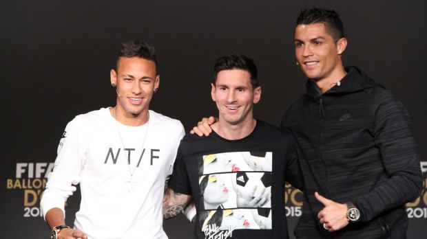 Neymar, Messi and Ronaldo at the 2015 Ballon d'Or ceremony. Photo: Getty Images