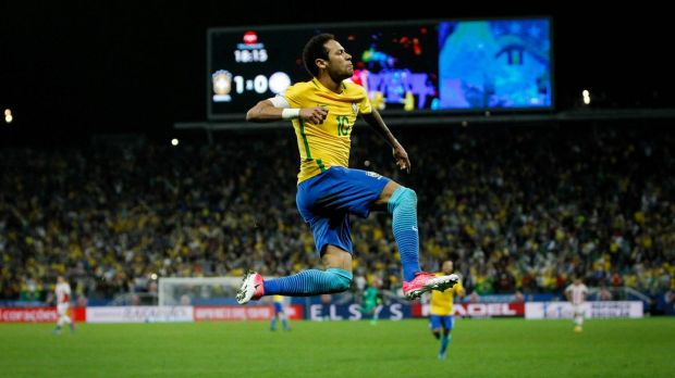 Neymar celebrates after scoring for Brazil in their World Cup qualifier against Paraguay. Photo: Getty Images
