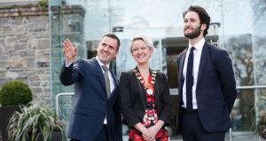 "Martin Shanahan of IDA Ireland, Claire Solon of the Society of Chartered Surveyors Ireland and  Daniel Susskind, author of ""Future of the Professions"", at the SCSI national conference  on Friday. Photograph:  Conor McCabe Photography"