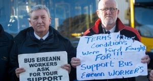 Alan Dardis and Pat Doyle during secondary picketing relating to the Bus Éireann strike at Conyngham Rd Dublin Bus depot on Friday. Photograph: Gareth Chaney Collins