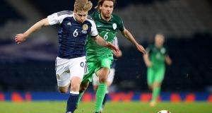 Scotland's Stuart Armstrong against Slovenia during their World Cup qualifying match at Hampden Park last Sunday. Photograph: PA