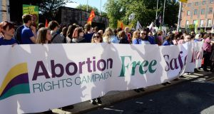 People at the March for Choice organised by the Abortion Rights Campaign , in Dublin city centre in 2015. Photograph: Eric Luke