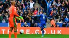 Leicester's Jamie Vardy celebrates after scoring against Stoke City in their Premier League clash. Photo: Ben Stansall/Getty Images