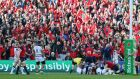 Munster fans celebrate their team's first try against Toulouse at Thomond Park. Photograph: Getty Images