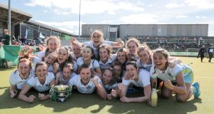 UCD celebrate winning the Irish Senior Cup final. Photograph: Paul Walsh/Inpho