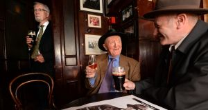 Celebrating the 51st anniversary of the death of Brian O'Nolan and the 50th anniversary of the publication of The Third Policeman in the snug at The Palace Bar in Dublin. Photograph: Cyril Byrne / The Irish Times