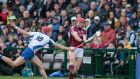 Seamus Keating challenges Galway's Jack Grealish during Waterford's defeat to Galway. Photograph: Mike Shaughnessy/Inpho