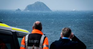 Hazardous conditions: search has been focused on a narrow channel off Blackrock island, 13km west of Blacksod, where the helicopter crashed on March 14th.  Photograph: Keith Heneghan / Phocus