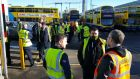 The scene at Ringsend garage last Friday as Dublin Bus workers stopped work in support of their Bus Éireann colleagues. Photograph: Frank Miller