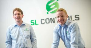SL Controls co-founders Shane Loughlin and Keith Moran in the company's Sligo office. Photograph: James Connolly