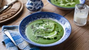 Nettle soup: as an optional garnish whizz up chives with oil and drizzle over the soup with some cream