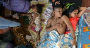 More than 500 people are in emergency accommodation  in  southern Colombia.  Photograph:  Luis  Robayo/AFP/Getty Images