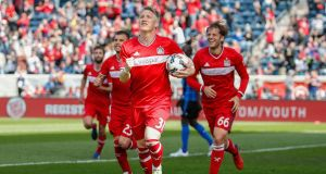 Chicago Fire's Bastian Schweinsteiger celebrates after scoring against the Montreal Impact. Photo: EPA
