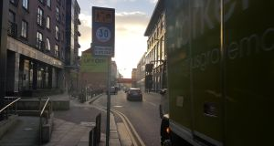 One of the newly unveiled speed limit signs in Dublin city centre. Photograph: Paddy Logue