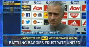 Jose Mourinho speaks to Conor McNamara of the BBC after Manchester United's 0-0 draw with West Brom on Saturday. Photo: BBC