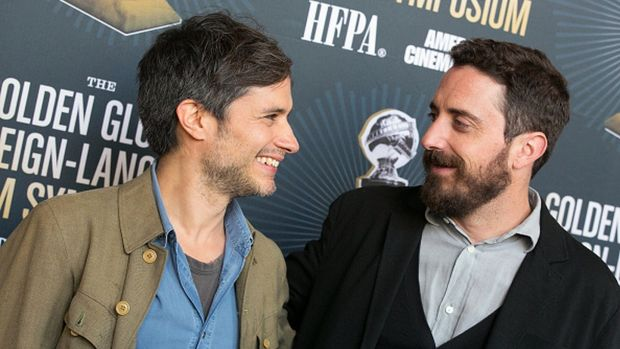 HOLLYWOOD, CA - JANUARY 07: Gael Garcia Bernal (L) and Pablo Larrain arrive to the American Cinematheque Panel Discussion With Golden Globe Nominated Foreign-Language Directors at the Egyptian Theatre on January 7, 2017 in Hollywood, California. (Photo by Gabriel Olsen/FilmMagic)
