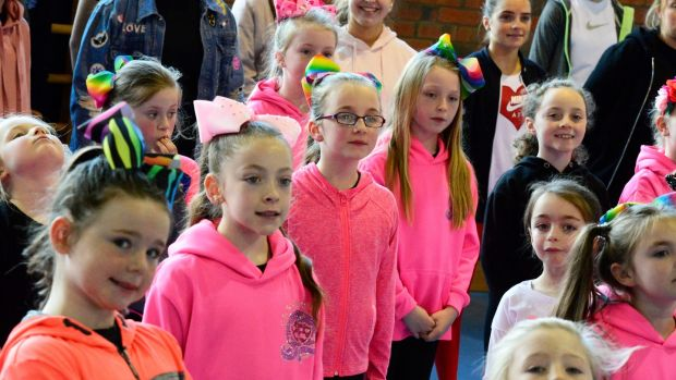 Children in the C&S Group at a singing rehaersal at St Ultan's School, Ballyfermot. Photograph: Cyril Byrne