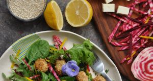 Lily Higgins: Halloumi and sesame salad with honey