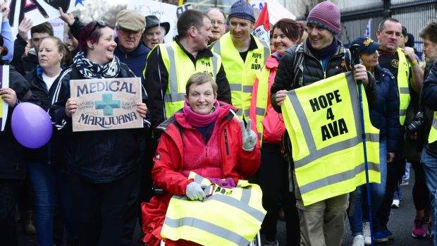 Vera Twomey making her way to Leinster House after her marathon walk in support of her daughter to call for legalise medical cannabis. Photograph: Cyril Byrne