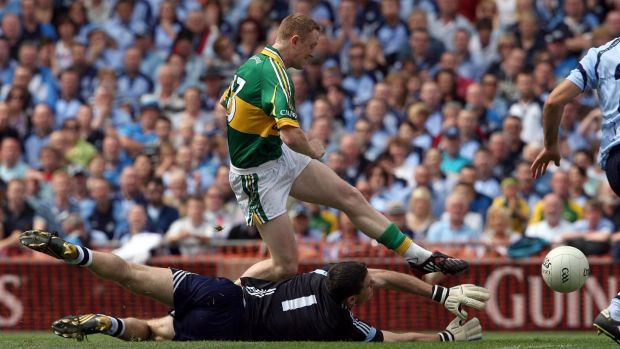 Colm Cooper slots home Kerry's early goal against Dublin in the All-Ireland quarter-final of 2009. Photograph: Donall Farmer/Inpho