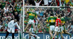 Colm Cooper celebrates Kerry's goal against Mayo in the 2004 All-Ireland senior football final at Croke Park. Photograph: Morgan Treacy/Inpho