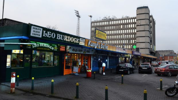 The shopping centre area of Phibsborough. The developers plan to build up the site with heights ranging from three to seven storeys, including new shops, offices, restaurants and student accommodation. Photograph: Cyril Byrne