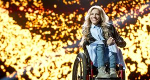 Russian singer, composer and songwriter Yulia Samoilova, who has been chosen to represent Russia in this year's Eurovision Song Contest. Photograph: EPA/Russian TV Channel 1