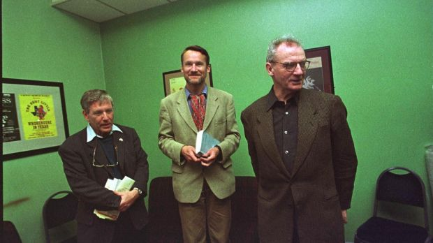 Seamus Deane, right, with Amoz Oz and Andre Makine at Cúirt in Galway in 1989. Photograph: Joe St Leger