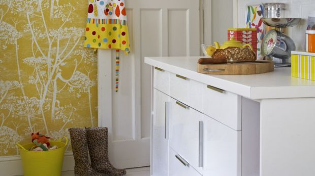 A single wall in Denise O'Connor's kitchen covered in wallpaper by Cole & Son