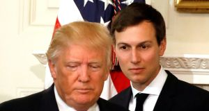 US president Donald Trump and his senior adviser Jared Kushner