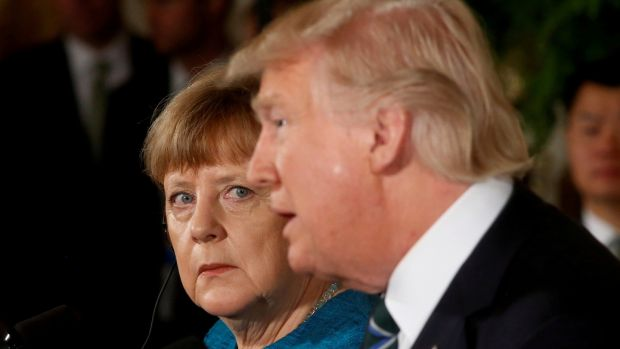 Germany's chancellor Angela Merkel and US president Donald Trump in March. Photograph: Reuters/Jonathan Ernst