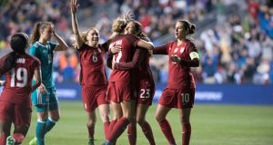 The US women's soccer team secured an improved deal with US Soccer on Wednesday. Photograph: Kyle Ross/Getty