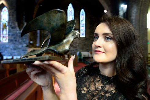 Sarah Brady from Mullingar Co Westmeath who won  the Dermot Troy  Trophy for Oratorio  at St Mary's Church Hall, Donnybrook in the ESB Feis Ceoil.   Photograph: Cyril Byrne / The Irish Times