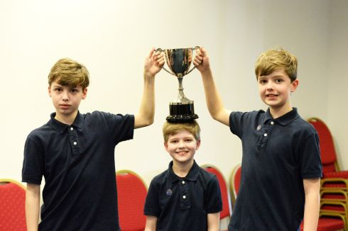 Brothers Liam, Peter and Cormac Ryan members of the Young European Strings Orchestra, Dublin  winners of the Open Orchestra in the Feis Ceoil at the RDS.  Photograph: Cyril Byrne / The Irish Times