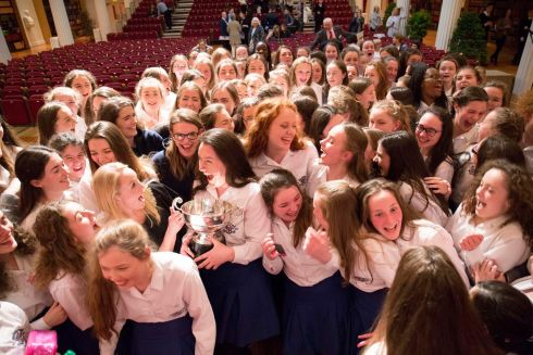 Loreto Kilkenny School Orchestra pictured celebrating their win at the ESB Feis Ceoil.