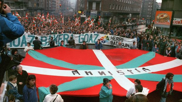 Thousands of people demonstrate with Herri Batasuna, the political wing of Eta, to support a political amnesty for Eta prisoners, in 1989 in Bilbao. Photograph: Vincent Amalvy/AFP/Getty Images
