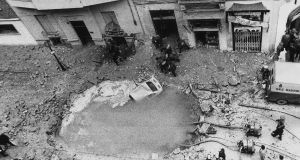 December 1973: In Madrid, a huge gaping hole formed following the Eta bomb explosion that claimed the life of the Spanish prime minister Admiral Luis Carrero Blanco. Photograph: Keystone-France/Gamma-Keystone via Getty Images
