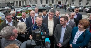 TDs Richard Boyd Barrett TD (Solidarity-PBP),Thomas Pringle (Independent), Eoin O'Broin (Sinn Féin) and Catherine Murphy TD (Social Democrats) outside Leinster House during a press conference reacting to the final draft report of the Joint Committee on the Future Funding of Domestic Water Services. Photograph: Gareth Chaney/Collins