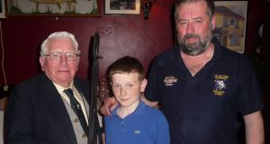 Daithí Ryan (12), Cong, junior winner of Burke competition with Tom Sweeney, right, and Ciarán Burke