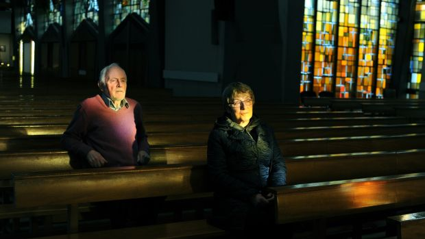 Phil Dunne (left) and Brendan Butler at Ballyroan Parish Church in Rathfarnham, Dublin. Photograph: Aidan Crawley