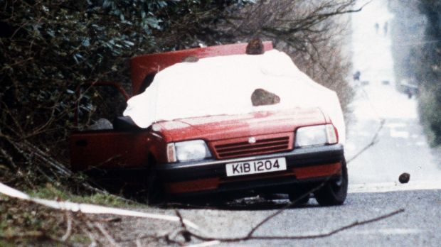 The bullet-riddled car belonging to RUC officers Harry Breen and Bob Buchannon. Photograph: Pacemaker