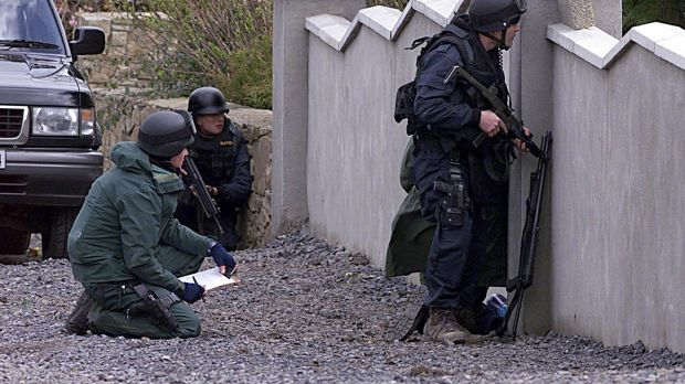 Members of the Garda ERU at seige of a house in Abbeylara, Co Longford where John Carthy was shot. Photograph: David Sleator/The Irish Times