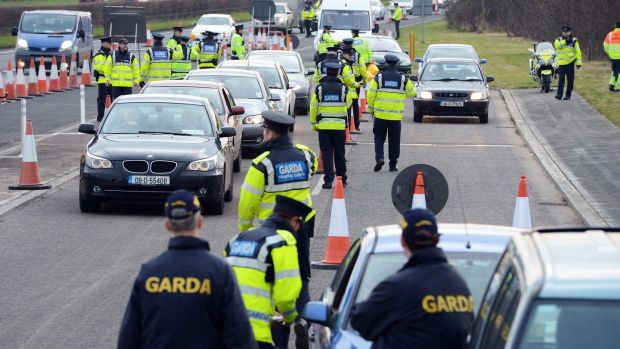 Gardaí at a checkpoint in Dublin. Photograph: Eric Luke / The Irish Times